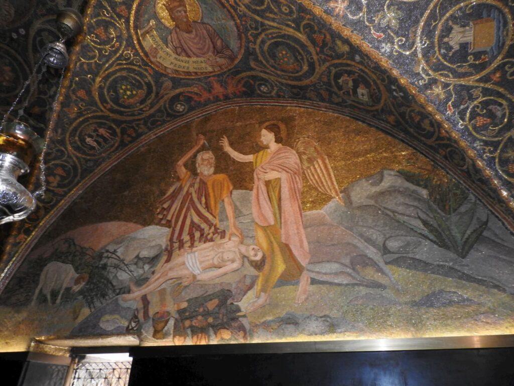 פסיפס של עקדת יצחק בכנסיית הקבר